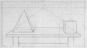 9. Куб и пирамида на горизонтальной плоскости