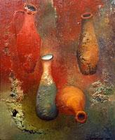 Продажа картин. Цена 2 800 грн. Красные кувшины (масло, холст, 50x40см)