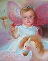 Портрет малышки с мягкими игрушками (Портрет на заказ по фото)