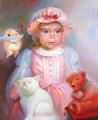 Портрет маленькой девочки с любимыми зверятами (Портрет на заказ по фото)