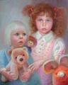 Портрет двух сестричек с веселыми игрушками (Портрет на заказ фото)