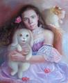 Портрет девочки и ее зверят (Портрет на заказ по фото)